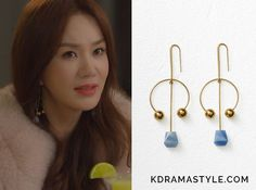 "Yoo Ji Na's Gold Dot Arc Earrings - Celine Dot Mixed Arc Earrings in Azul Macauba and Gold Brass and Natural Stone Uhm Jung Hwa 엄정화 as Yoo Ji Na 유지나 in ""You Are Too Much"" Episode Korean Accessories, Other Accessories, Gold Dots, Natural Stones, Hoop Earrings, Drama Korea, Celine, Kdrama, Brass"