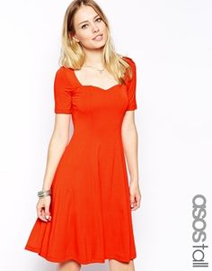 ASOS TALL Skater Dress With Short Sleeve and Sweetheart Neck