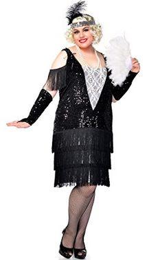 Ladies Black 1920s 20S Flapper Gatsby Fancy Dress Costume Outfit STD /& Plus Size