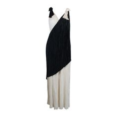 1980s Mary McFadden Monochrome Asymmetrical Evening Gown | From a collection of rare vintage evening dresses and gowns at https://www.1stdibs.com/fashion/clothing/evening-dresses/