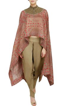 Debyani plays with proportions to craft a soft asymmetric cape paired seamlessly with draped dhoti pants. Dress Indian Style, Indian Dresses, Indian Outfits, Indian Fashion, Boho Fashion, Fashion Dresses, Dresses Uk, Summer Dresses, Stylish Dresses For Girls