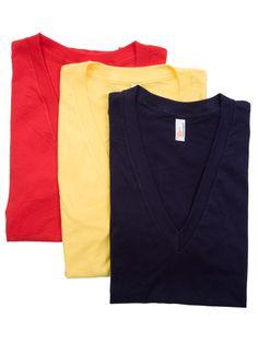(3-Pack) Sheer Jersey Short Sleeve Deep V-Neck | T-Shirts | Men's Multi-Packs | American Apparel