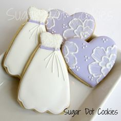 how to decorate a wedding dress cookie cutter | Sugar Dot Cookies: Bridal Shower Cookies - Hearts and Gowns