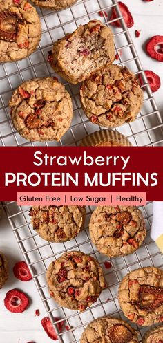 These healthy strawberry protein muffins are the best low carb muffins. Made with pea protein, and almond flour, filled with freeze dried strawberries and made without any added sugar. The best low carb protein muffins! #strawberrymuffins #proteinmuffins #peaprotein Protein Powder Muffins, Paleo Protein Powder, Low Carb Protein, High Protein, Gluten Free Muffins, Gluten Free Snacks, Paleo Recipes, Free Recipes, Snack Recipes