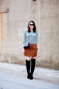 10.15 suede & stripes (Old Navy striped tunic + Gorjana necklace + Old Navy faux-suede mini + Dolce Vita OTK boots + Kate Spade quilted crossbody + Karen Walker sunnies)