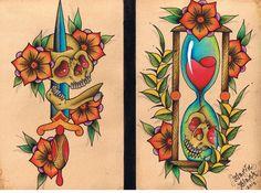Tradition skull tattoo flash by Darin Blank. Instagram: @darinblanktattoos