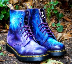 Gothic Galaxy Cosmic Print Dr Marten Boots. Hand-painted. Space nebula print. £175.00