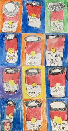 Andy Warhol for kids - this lesson is easy for teachers and fun for kids. Students will learn about Andy Warhol while doing directed drawing and painting. Pop Art For Kids, Kids Art Class, Art Lessons For Kids, Art Lessons Elementary, Andy Warhol Pop Art, Andy Warhol Soup Cans, Preschool Art, Kindergarten Art, School Art Projects
