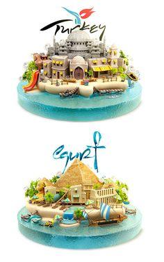トルコとエジプトどっち行きたい? いろんな国の魅力をぎゅっと凝縮した3Dイラスト : きよおと-KiYOTO