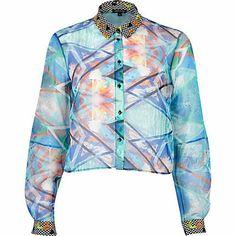 Blue abstract print chiffon cropped shirt £30.00