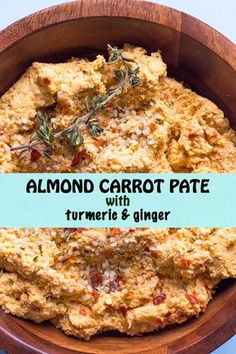 Almond Carrot Pate w/Turmeric and Ginger AND Marc Holzman - Soaked almonds, raw carrot, fresh turmeric, ginger & thyme blended together for a vibrant RAW spread. And my new favorite yoga teacher! Vegetarian Pate, Vegan Pate, Raw Vegan Recipes, Vegetarian Recipes, Healthy Recipes, Vegan Appetizers, Vegan Snacks, Vegan Spread Recipe, Pate Recipes