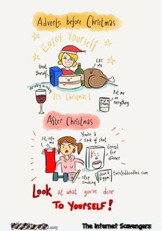 Adverts before and after Christmas humor