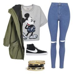 Mickey Mouse // Back to School by daniegirl14 on Polyvore featuring polyvore, beauty, GUESS, Paul & Joe Sister, Topshop and NIKE