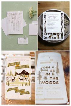 decoration mariage rustique faire part ajoure forêt cerf pop up