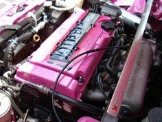 pink v-tec and pink engine bay