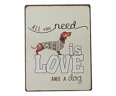 Placa Decorativa Love Dog - 26X35cm