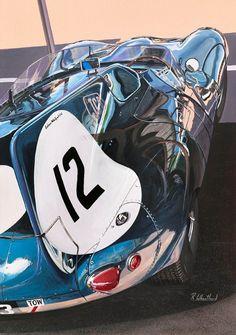 Jaguar D type at Goodwood painting by Richard Wheatland