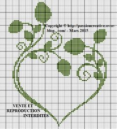 Grille gratuite point de croix : Coeur feuilles - Le blog de Isabelle Cross Stitch Heart, Cross Stitch Borders, Cross Stitch Flowers, Cross Stitch Designs, Cross Stitching, Cross Stitch Embroidery, Embroidery Patterns, Cross Stitch Silhouette, Wedding Cross Stitch Patterns