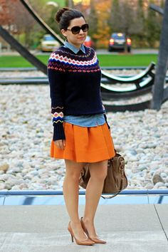 Fair Isle Sweater + skirt is a darling winter work outfit. Just add tights!