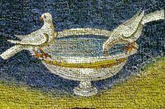 Ravenna, Italy - Mausoleum of Galla Placidia (5th Century Mosaics - Small Doves Detail)
