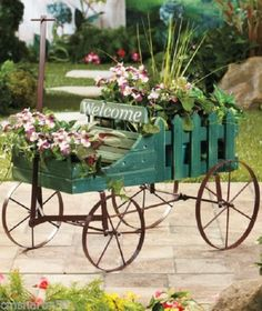 Wooden Green Wagon Antique Looking Indoor/Outdoor Herb Plant Stand Doll Bear NEW