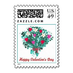 Flower bouquet red & pink hearts Valentines Stamps; the text can be easily customized.  #Valentine #ValentineStamps