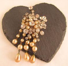 Vintage 'PARIS HOLLSE'? Waterfall Brooch Glass Crystal & Faux Pearl ~Bridal