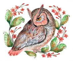 Daydreaming owl // SALE 1+1 // 2 zum Preis von 1, Eule Aquarell Druck, Größe 10x8 Zoll, 25x20cm limited edition 20/100 (No. 42)