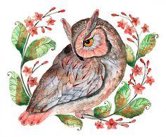 Daydreaming  owl and flowers bird watercolor art print door TevaKiwi