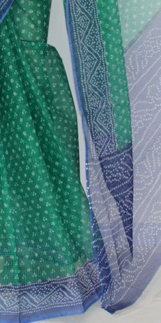 Green Blue JP Kota Doria Chunri Print Cotton Saree (without Blouse) 15300