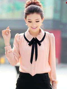 New Arrival Luxurious Doll Collar Long Sleeves Chiffon Blouse Casual Outfits, Cute Outfits, Fashion Outfits, Womens Fashion, Half Sleeve Shirts, Chiffon Shirt, Chiffon Blouses, Work Fashion, Blouse Designs