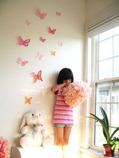 15 3D Wall Butterflies, 3D Butterfly Wall Art, Wall Decor, Butterfly Silhouettes, Wall Decor, Nursery, Wedding Decor, Girls Room