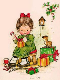 by sarah kay Sarah Key, Illustration Noel, Christmas Illustration, Illustrations, Vintage Christmas Cards, Christmas Art, Vintage Cards, Christmas Graphics, Christmas Scenes