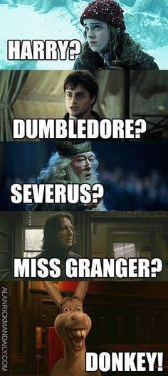 """harry potter funny, Donkey just HAS to be in the conversation. xD The only thing is Harry would never refer to dumbeldor in a conversation as """"dumbelor"""" r in"""