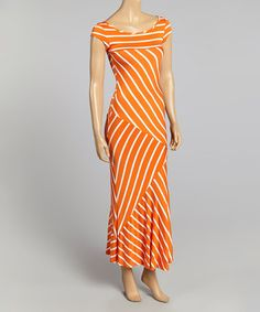 Another great find on #zulily! Orange & White Stripe Cap-Sleeve Maxi Dress by J-MODE #zulilyfinds