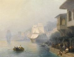 View of the Bosporus - Ivan Aivazovsky - Completion Date: 1878 - The trademark of the Bosphorus is the yalı – a house or mansion constructed at the immediate waterside (almost exclusively seaside) in Istanbul.