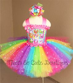 Shopkins Inspired Tutu Dress-Shopkins, tutu, dress, tutu dress, shopkins dress, party, birthday, rainbow, bright, fun, candy