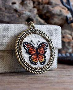 Monarch butterfly embroidered pendant, Orange butterfly necklace, Cross stitch necklace, Butterfly cross stitch pendant, Butterfly jewelry