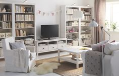 It may be traditional in style, but smart functions make our HEMNES storage furniture series right at home in a modern living room. The individual pieces come in different sizes to fit your space, so you can use them alone or put them together to make larger combinations. And because it's made of solid wood, a natural material that ages beautifully, you can look forward to enjoying your HEMNES for years to come.