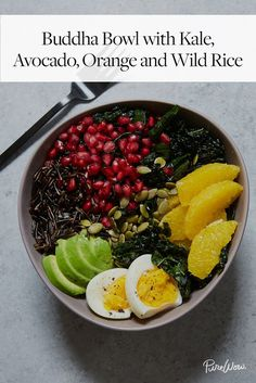 Buddha Bowl with Kale, Avocado, Orange and Wild Rice  via @PureWow