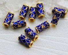 Blue flower wiry enamel craft gilding jewelry barrel beads, gilding flower beads, barrel beads, good for DIY jewelry,11.5mm ×7mm by ForDIYsupplies on Etsy