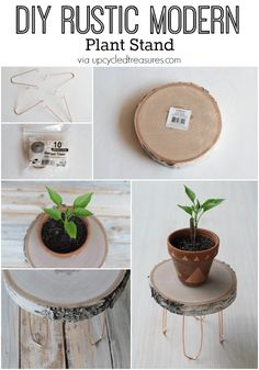 DIY Rustic Modern Plant Stand Need a creative stand to hold your plants? Check out how easy it is to create this DIY Rustic Modern Plant Stand with copper legs. Small Plant Stand, Modern Plant Stand, Wood Plant Stand, Plant Stands, Diy Home Decor Projects, Diy Home Crafts, Cool Diy Projects, Modern Crafts, Diy Décoration