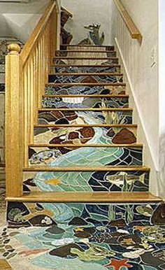 Modern tiles are great material for house exterior design, outdoor space and interior decorating that is practical and very attractive. Modern tile designs can Mosaic Stairs, Tiled Staircase, Wallpaper Staircase, Staircase Design, Mosaic Art, Mosaic Glass, Mosaic Tiles, Stained Glass, Tiling
