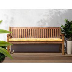 Beliani White Balau Wood Garden Bench with Blue and White Cushion JAVA - Modern Garden Bench Cushions, Planter Bench, Garden Benches, Traditional Benches, Wooden Arbor, Wooden Garden Furniture, Iron Bench, White Cushions, Wooden Planters