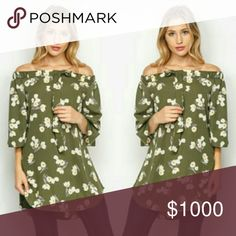 Green off the shoulder tunic dress Super cute off the shoulder tunic dress with little bow  3/4 length sleeve  Below the hips lenght Wear alone or with leggins and booties 20%off bundles of 2+ Tops Tunics