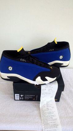 Nike Air Jordan 14 Retro XIV Low Laney Royal Blue Sz 9.5 White [5] Black [9] NEW #Nike #BasketballShoes