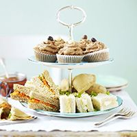 A standard afternoon tea comprises a layer of sandwiches, a layer of cakes and a layer of scones or teacakes. However, you could also throw in pastries, petits fours or biscuits.