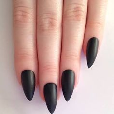 black pointed acrylic nails - Google Search