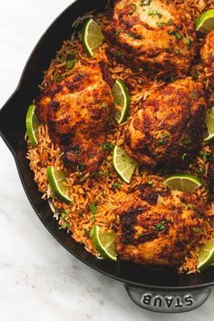 [ One Pan Chili Lime Chicken & Rice ] This delicious meal is made in one pan with minimal ingredients but is packed with amazing flavor! Your entire family will love this easy 30 minute meal! One Pan Chicken, Chicken Rice, How To Cook Chicken, Butter Chicken, One Pot Meals, Main Meals, Food Dishes, Main Dishes, Tandori Chicken