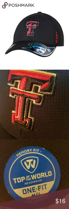 """NWT TEXAS TECH Red Raiders Cap Memory Fit M/L NWT Retail $24 OSFA  Fans United brings you the Texas Tech Red Raiders Top Of The World Booster Cap. Look sharp and cool when you support the Red Raiders!  Top of the World memory fit cap 100% Polyester One size fits most Memory fit foam built into sweatband for maximum comfort Embroidered Texas Tech logo on front, """"Tech"""" on left side, mascot on back Top of the World logo on right side Officially licensed collegiate product Headgear Accessories Hats"""